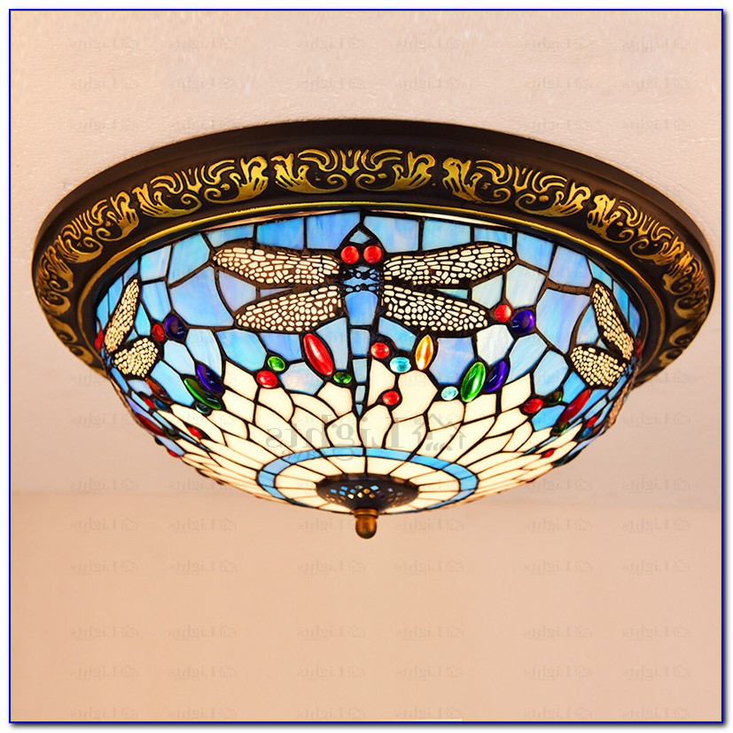 Stained Glass Ceiling Light Fixture