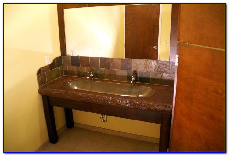 Trough Sink Double Faucet Vanity