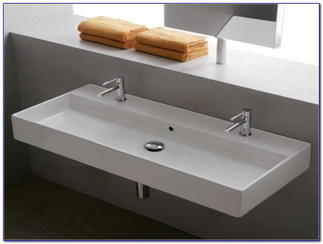 Trough Style Bathroom Sinks One Sink Two Faucets, Double Bathroom Sink Faucet Bathroom Trough H41