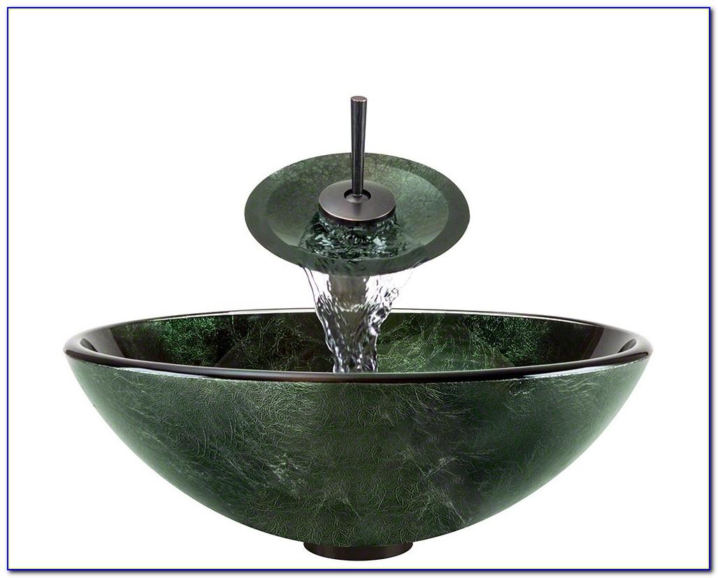Vessel Sink Waterfall Faucet Combo