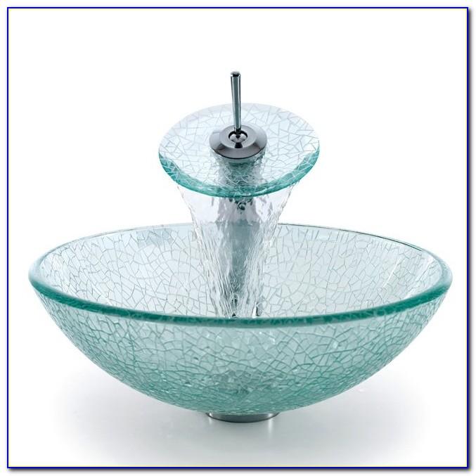Vigo Janus Glass Vessel Sink And Waterfall Faucet Combo