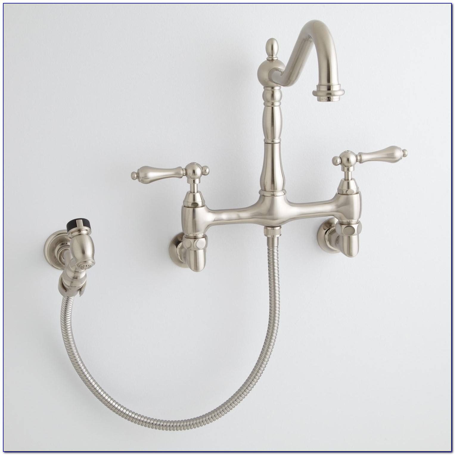 Wall Mounted Kitchen Faucet With Sprayer
