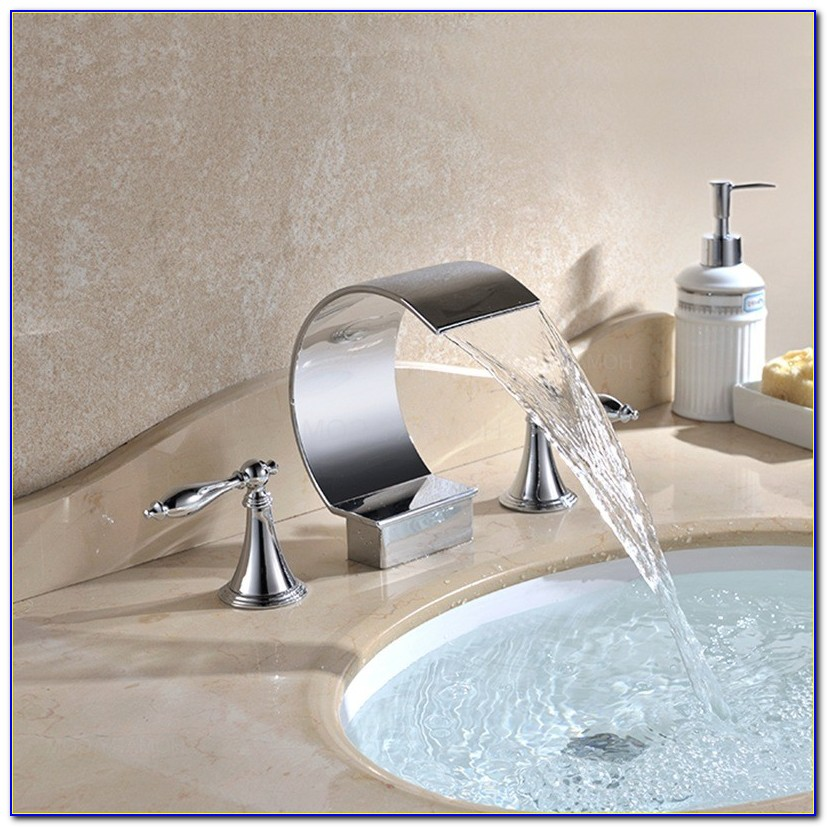 Waterfall Bathroom Sink Faucet Widespread