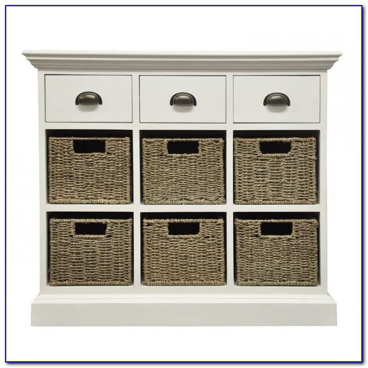 White Dresser With Wicker Baskets