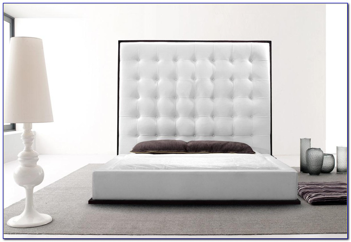 Black Bed Frame With Leather Headboard