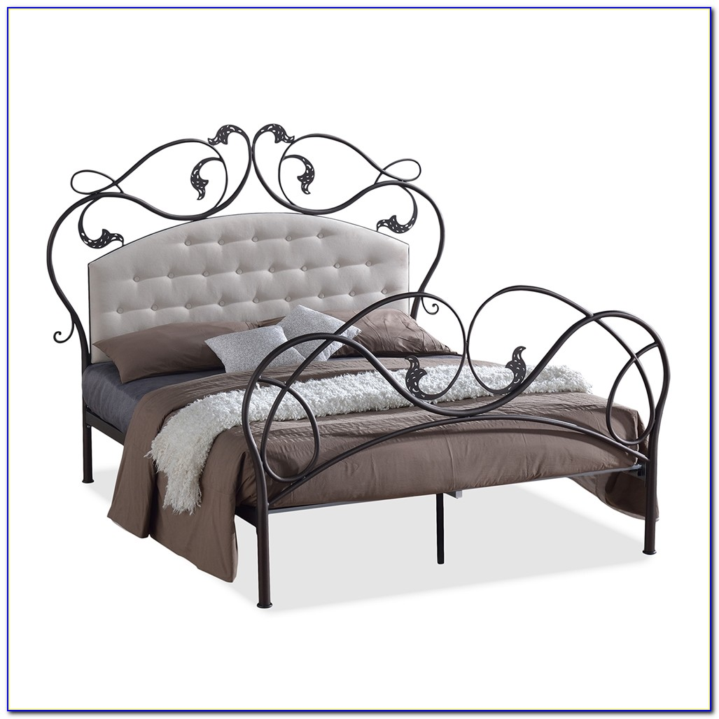Black Metal Queen Size Bed Headboard Footboard Rails & Platform