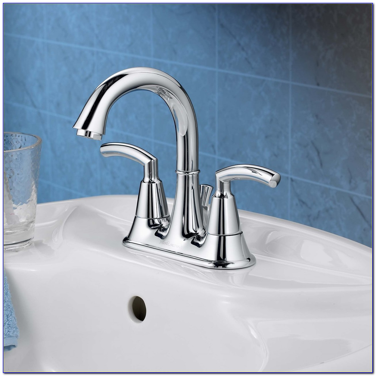 Courant 4 Inch Centerset Bathroom Faucet Polished Chrome & Porcelain Handles