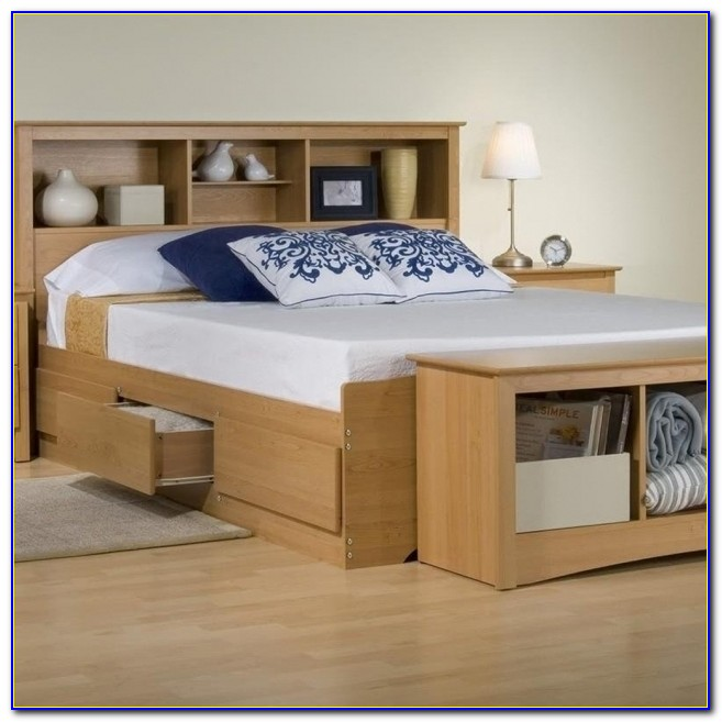 Full Size Headboard With Shelves Platform Storage Bed With Bookcase Headboard Maple Image 45