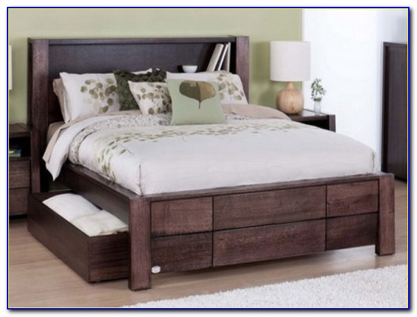 Full Size Platform Bed With Upholstered Headboard