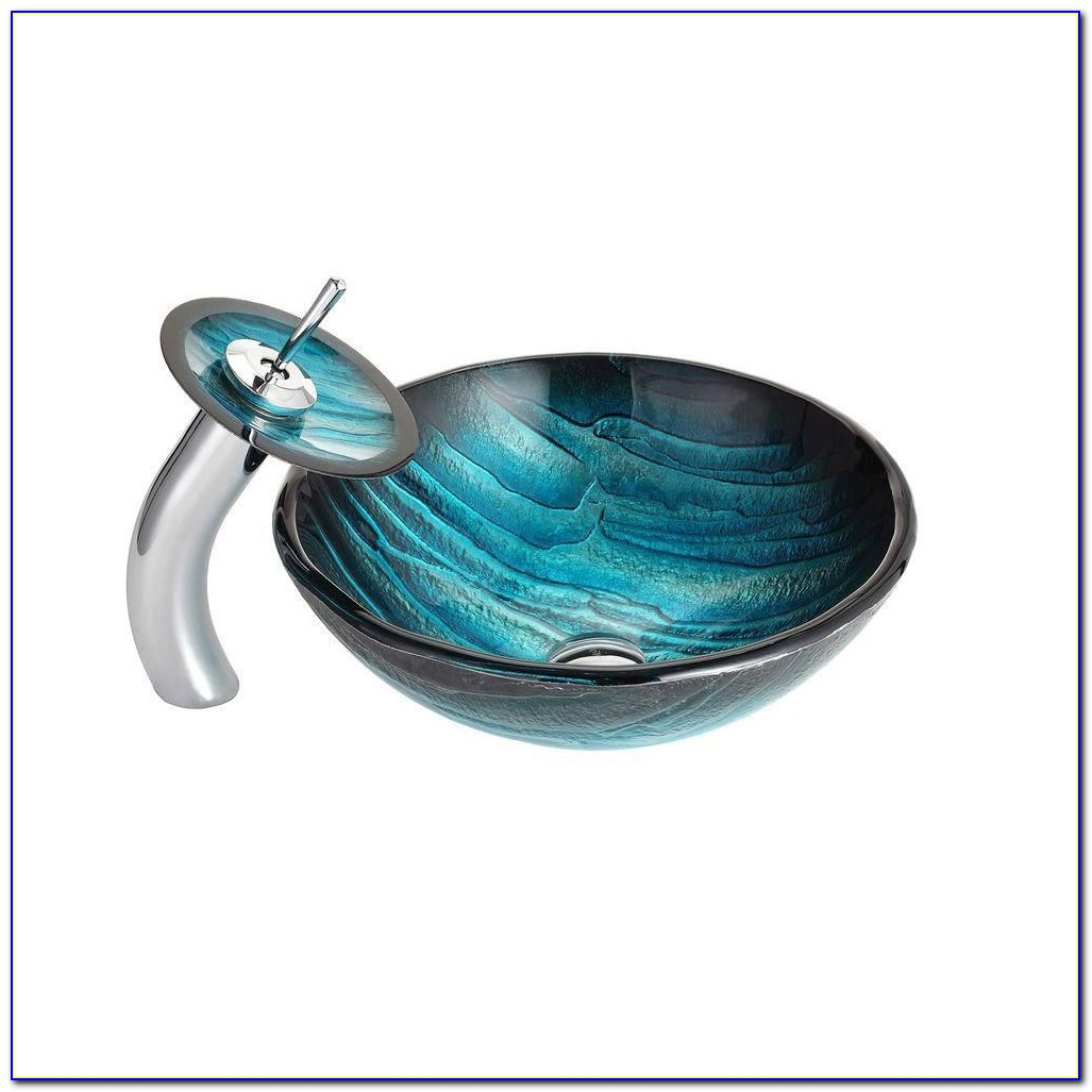 Glass Vessel Sink And Waterfall Faucet