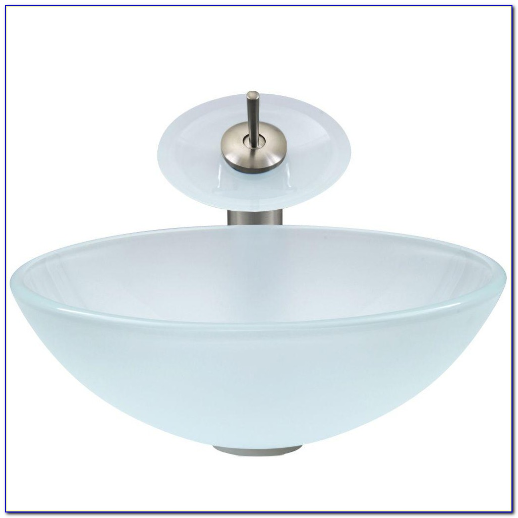Glass Vessel Sinks With Waterfall Faucets