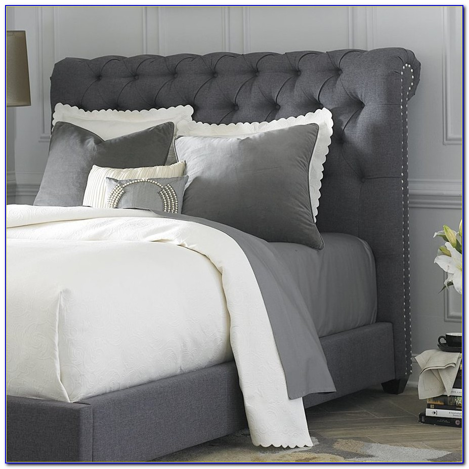 Grey Upholstered King Headboard