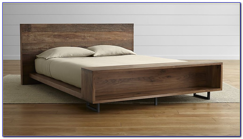King Bed Frame With Shelf Headboard