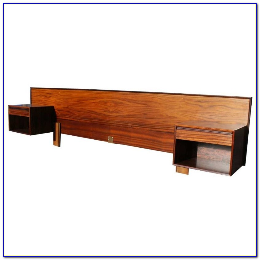 King Headboard With Attached Nightstands