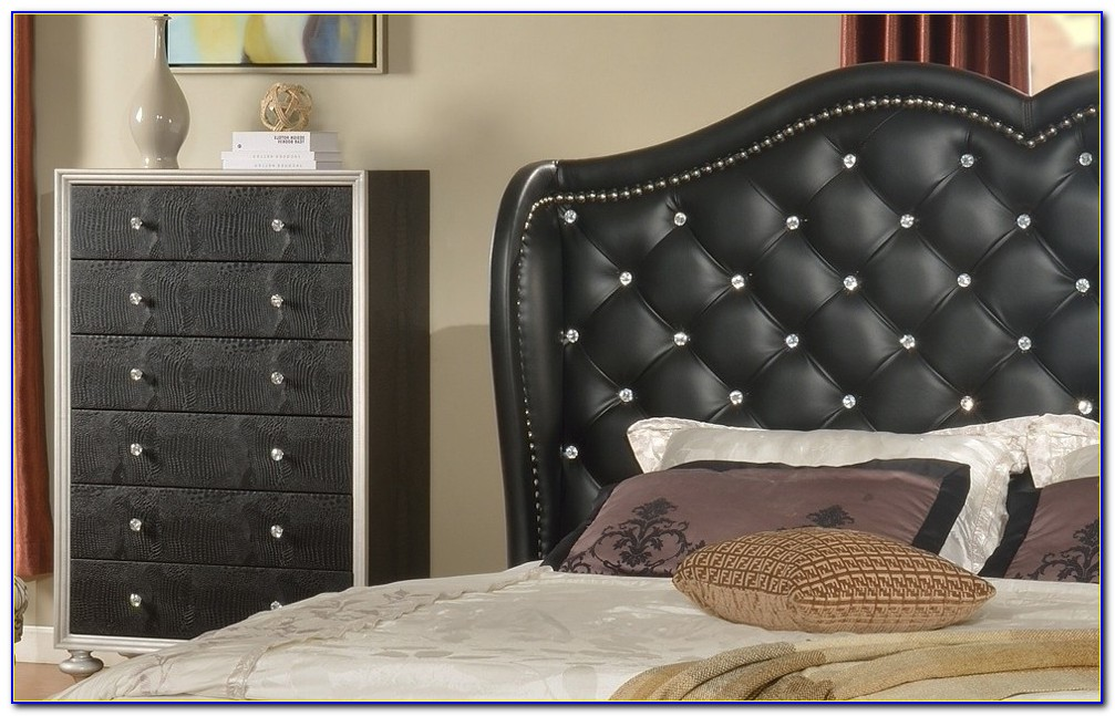 Leather Headboard With Crystals
