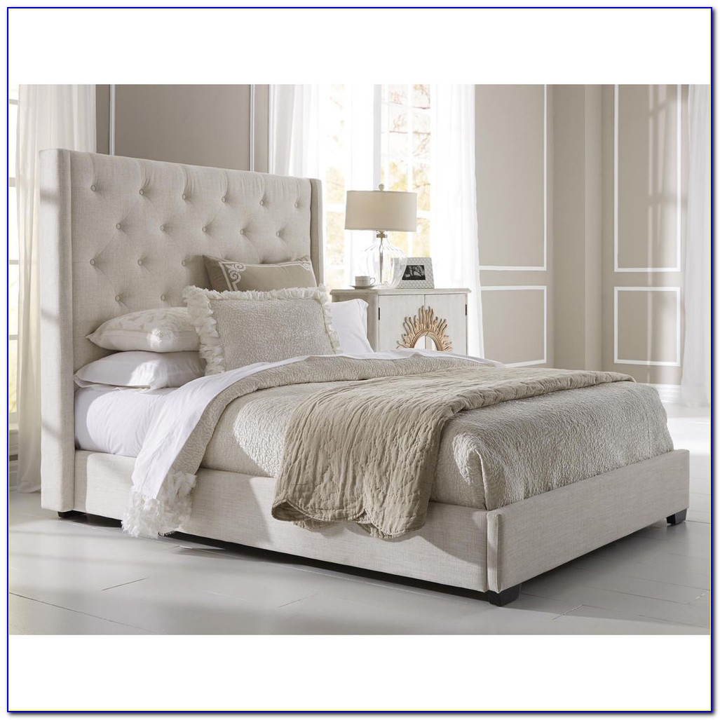 Nailhead Upholstered Bed Frame And Headboard