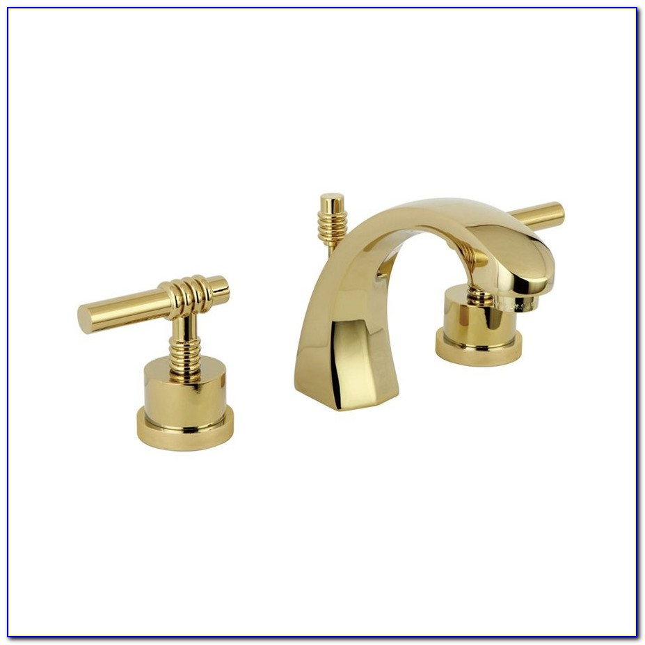 Polished Brass Two Handle Widespread Bathroom Faucets