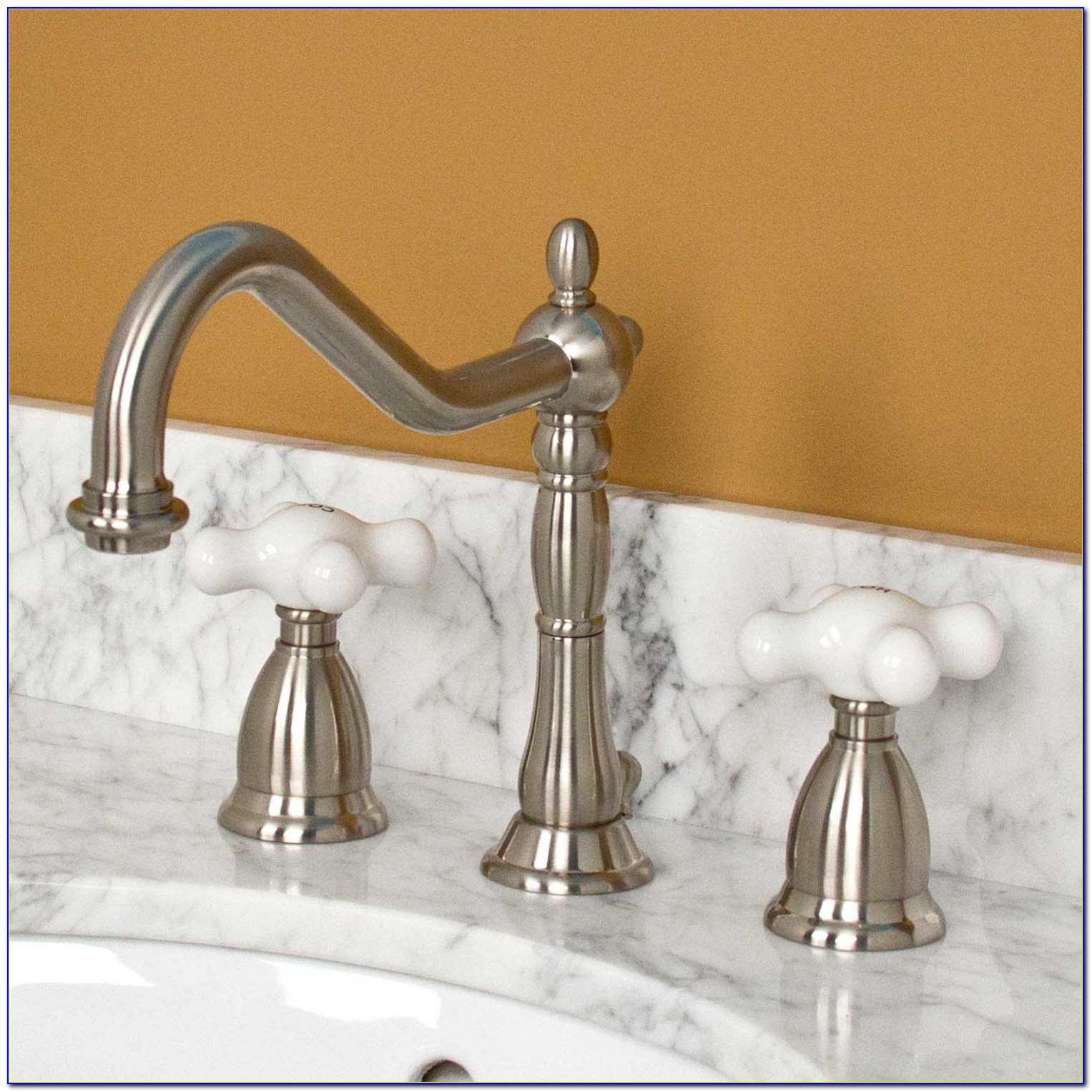 Porcelain Cross Handle Kitchen Faucet