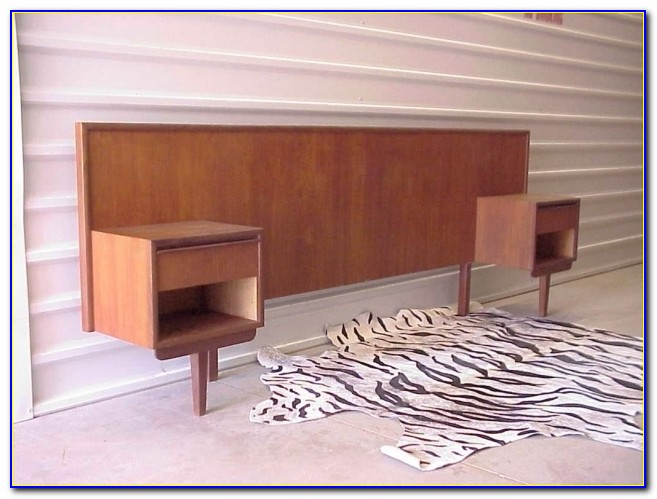 Mid Century Danish Modern Teak Headboard With Nightstand Attached Picture 22