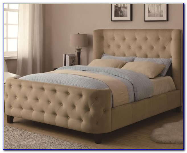 Upholstered Headboard And Footboard Set Bed Queen Tan Velvet Bed With Button Tufting Pictures 76