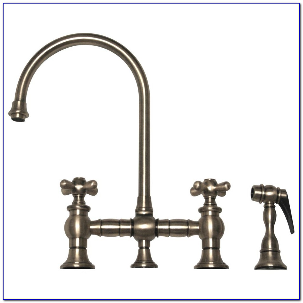 Victorian High Spout Lever Handle Bridge Kitchen Faucet With Side Sprayer