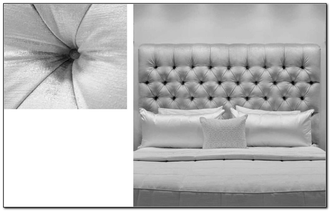 White Leather Diamond Tufted Headboard