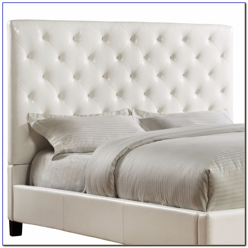 White Leather Upholstered Headboard Queen