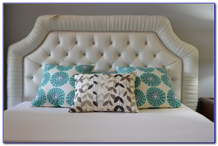 White Tufted Headboard With Crystals