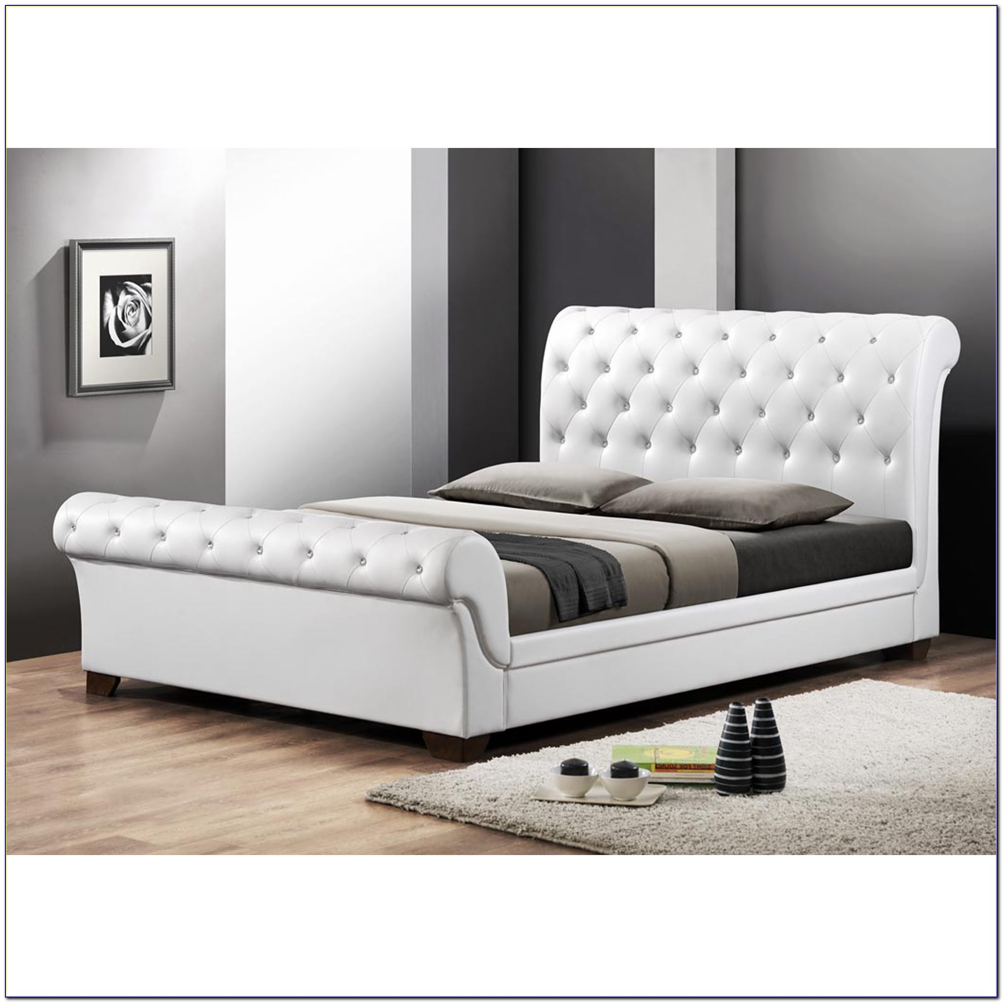 White Upholstered Headboard And Footboard