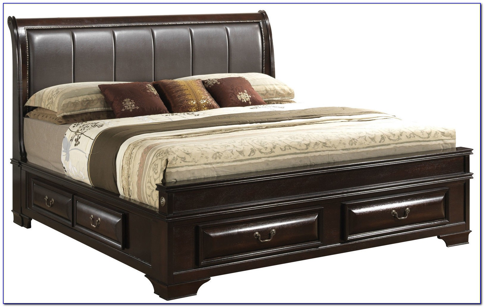 Wood Bed Frame With Upholstered Headboard
