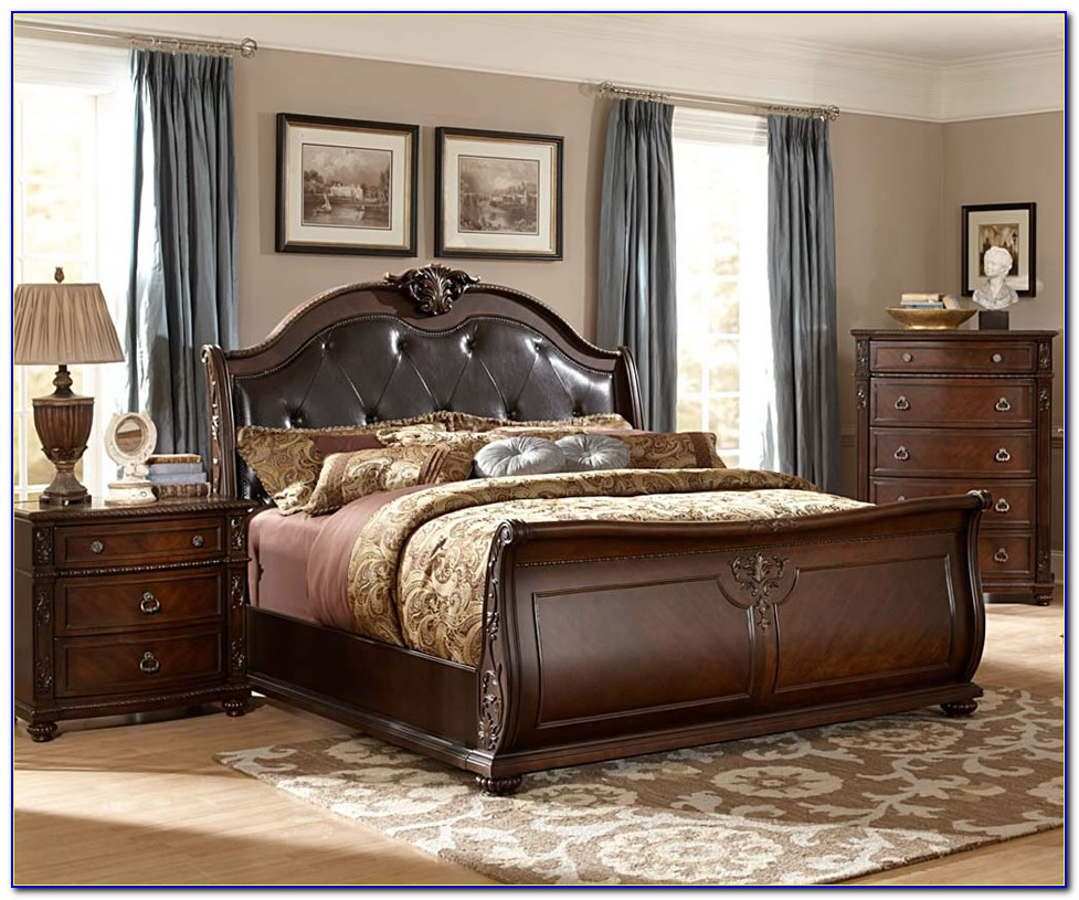 Wooden Bed Frame With Leather Headboard