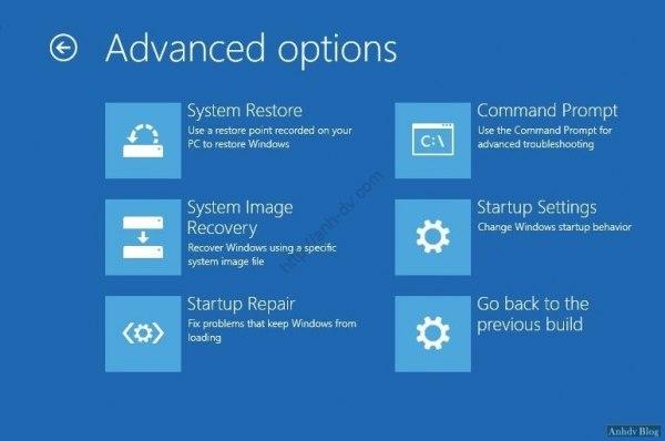 Sửa lỗi khởi động với Advanced Options