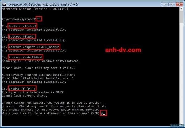 Sửa lỗi khởi động windows bằng dòng lệnh