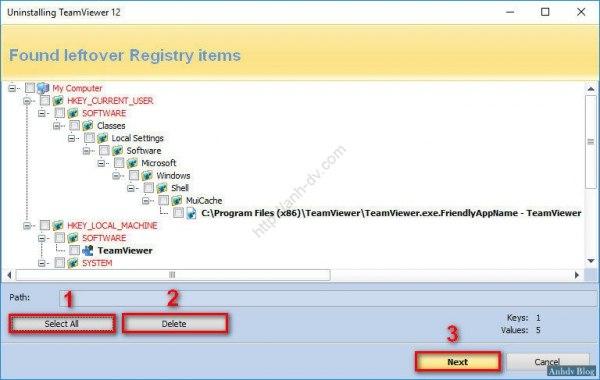Gỡ bỏ sạch TeamViewer, xóa bỏ registry