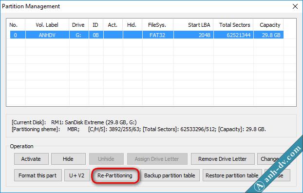 Tạo usb boot với phân vùng ẩn bằng BootIce 1