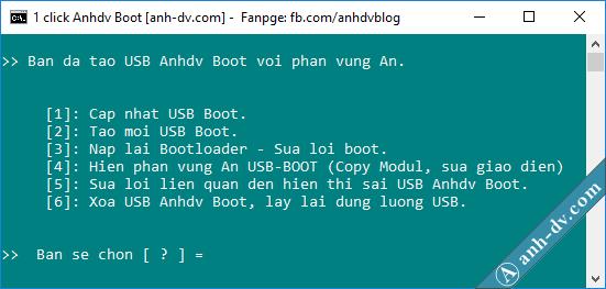 1 Click Anhdv Boot 2018 tạo usb uefi legacy