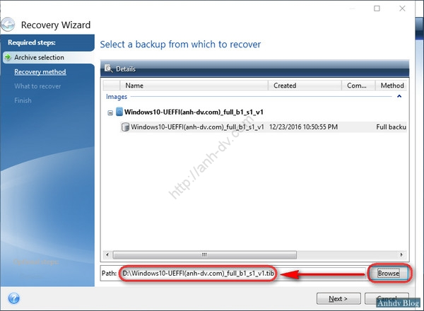 Ghost Windows 10 UEFI với Acronis True Image