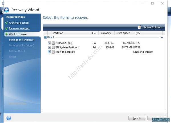 Ghost Windows 10 UEFI - Chọn phân vùng ghost
