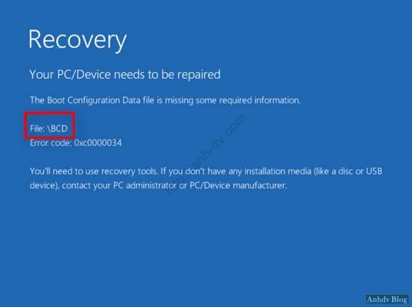 Lỗi màn hình xanh với BCD