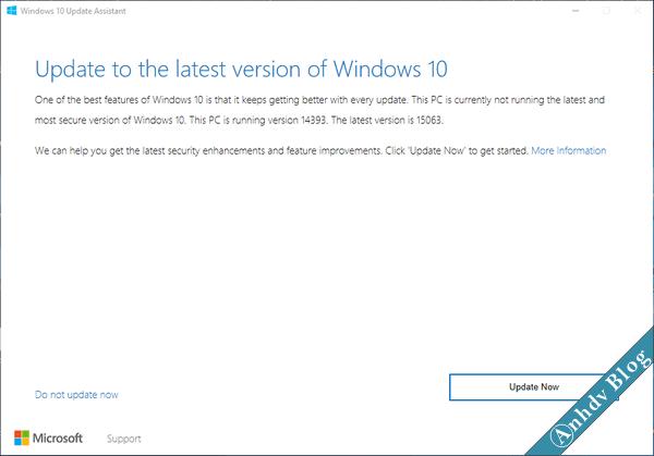 Upgrade Windows 10 creator 1703