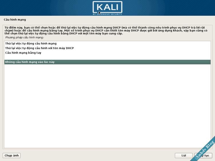 Cấu hình mạng cài Kali Linux