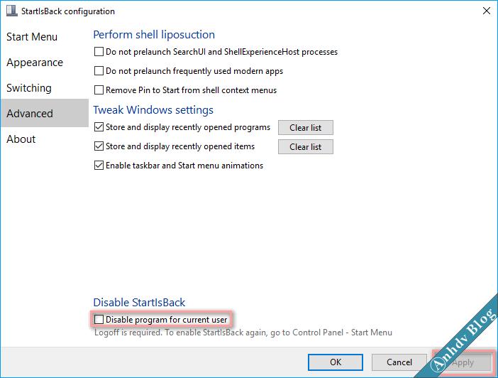 Tùy biến giao diện Windows 10 với StartIsBack - off