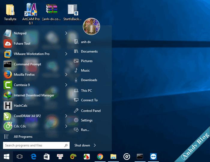 Tùy biến giao diện Windows 10 với StartIsBack Kết quả
