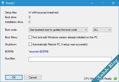 Hướng dẫn cài đặt windows bằng WinNTSetup chuẩn