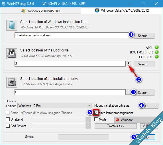 cài đặt windows bằng WinNTSetup trên WinPE (Mini Windows 10) UEFI legacy