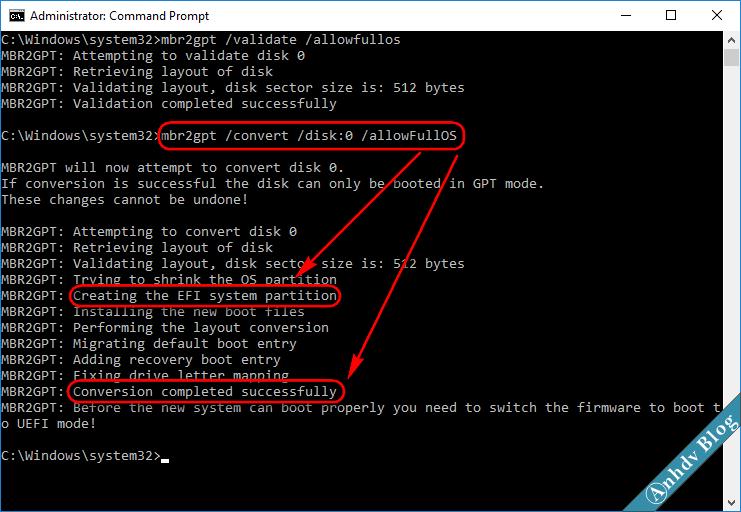 Chuyển ổ cứng MBR sang GPT với mbr2gpt