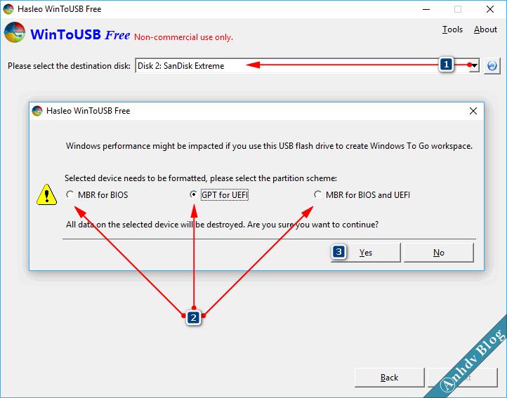 Lựa chọn cài Windows trong WinToUSB