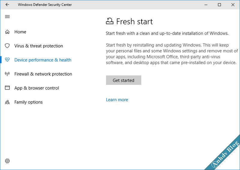 Tính năng Fresh Start trên Windows 10 2