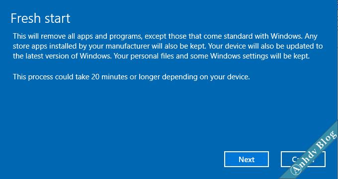 Tính năng Fresh Start trên Windows 10 4