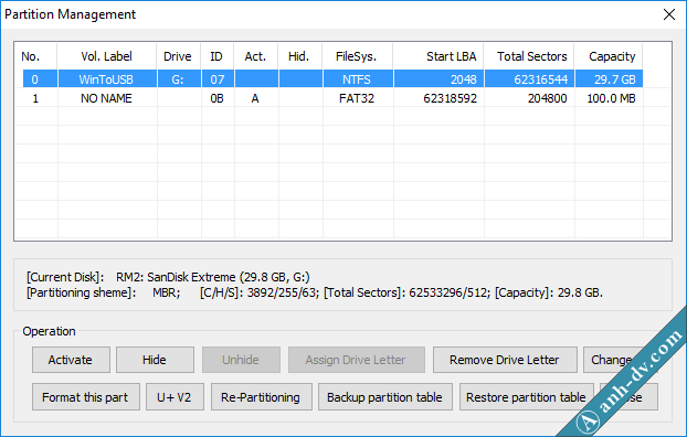 Partition Manage BootIce 2